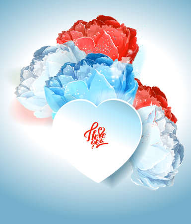 Delicate peony flowers with a heart symbol. A declaration of love. Blue, white, red Иллюстрация