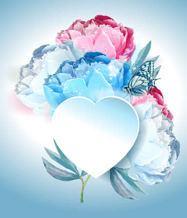 Delicate peony flowers with a heart symbol. A declaration of love. Blue, pink, white. Archivio Fotografico - 129767584