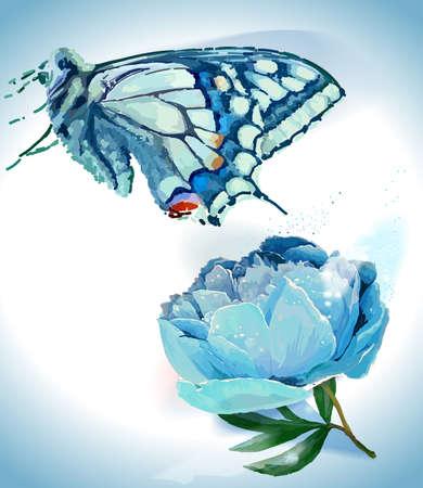 Flower and butterfly. Vector illustration. White, light blue Ilustracja