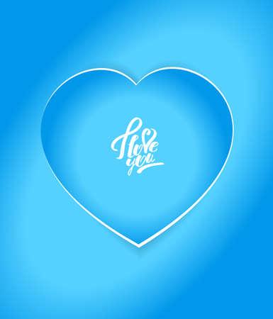 Sticker in the shape of heart.  blue