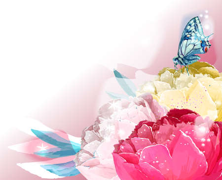 Flower and butterfly. Vector illustration. Pink, yellow, white Ilustracja