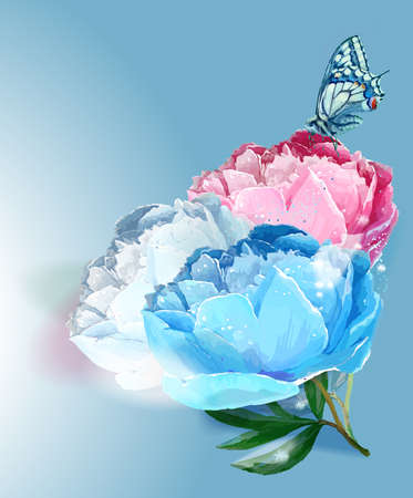 Flower and butterfly. Vector illustration. White, light blue, pink