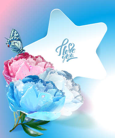 Template postcards. Star and peony.