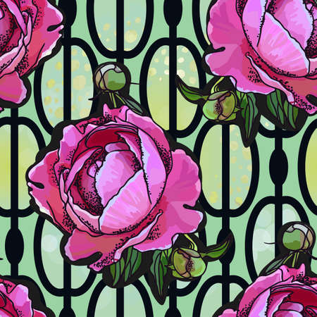 Seamless trend pattern - peony flower on ornamental background. Vintage style