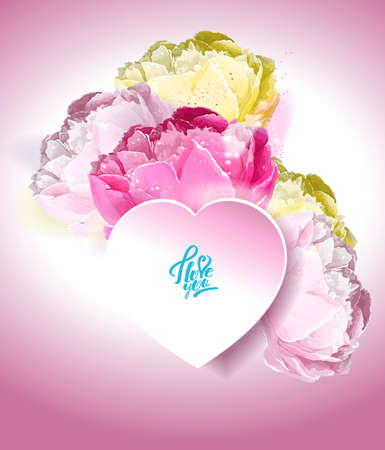 Delicate peony flowers with a heart symbol. A declaration of love. White, yellow, pink Archivio Fotografico - 129767652