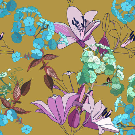 Lilies and phloxes. Seamless pattern with garden flowers.