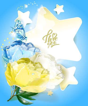 Template postcards. Star and peony. Reklamní fotografie - 129767683