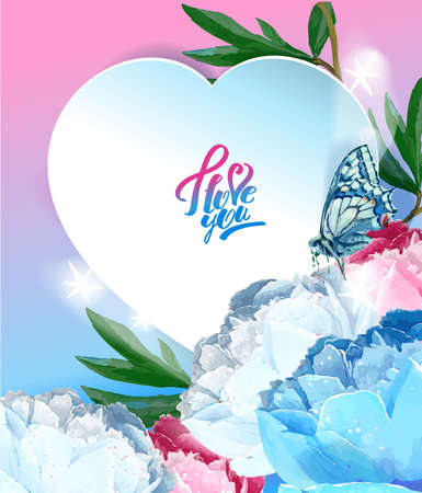 Delicate peony flowers with a heart symbol. A declaration of love. Blue, pink, white. Archivio Fotografico - 129767692