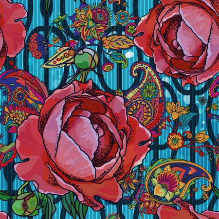 Seamless trend pattern - peony flowers and paisley. Ilustracja