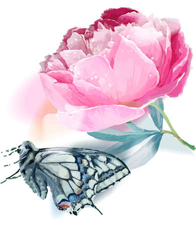 Flower and butterfly. Vector illustration. White, blue, pink Ilustracja