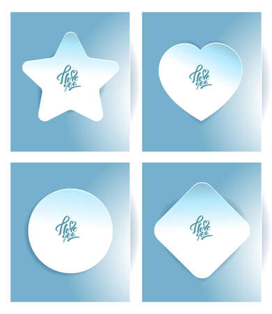 A set of stickers in the shape of a heart, a square, a star and a circle.  blue