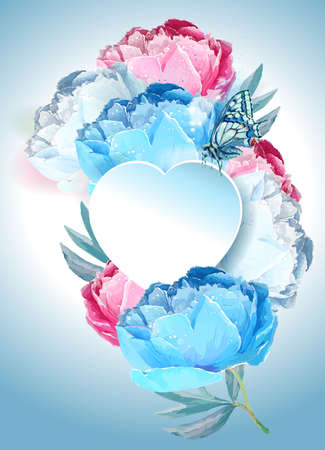 Delicate peony flowers with a heart symbol. A declaration of love. Blue, pink, white.