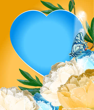 Delicate peony flowers with a heart symbol. A declaration of love. Blue, white, yellow