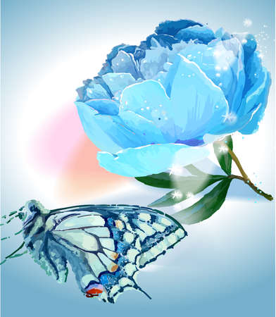 Flower and butterfly. Vector illustration. White, blue