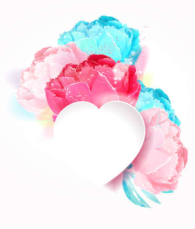Delicate peony flowers with a heart symbol. A declaration of love. Blue, white, pink