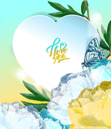 Delicate peony flowers with a heart symbol. A declaration of love. Blue, white, yellow Archivio Fotografico - 129767760