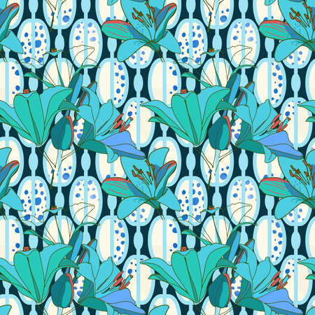Trendy floral seamless pattern for wallpaper or fabric. Lilies, phlox and graphic ornament.  Illustration
