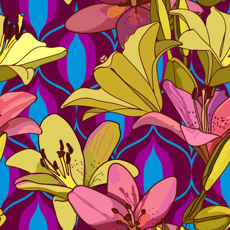 Lilies on vintage seamless pattern. Retro Style Sixties