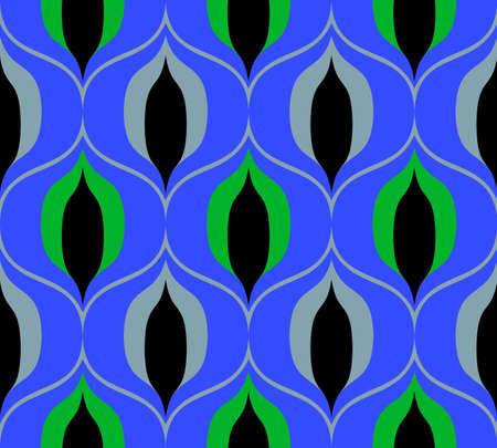 Nahtloses Retro-Muster im Stil der sechziger Jahre. Art-Deco-Vintage-Tapete oder -Stoff. Vektorgrafik