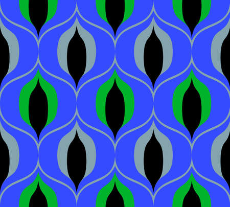 Seamless retro pattern in the style of the sixties. Art deco vintage wallpaper or fabric. Vektorové ilustrace