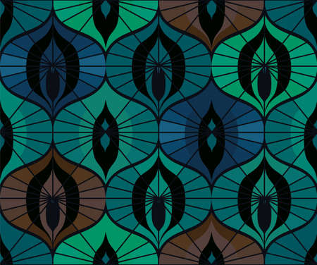 Seamless retro pattern on vintage oriental motifs.  Ornate lines, cool colors. Vintage wallpaper or fabric.
