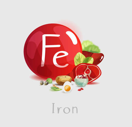 Iron in food. Natural organic products with a high content of Iron. Illustration