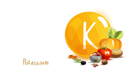 Potassium in food. Natural organic products with a high content of potassium. Healthy nutrition as the basis of a healthy lifestyle. Фото со стока - 125360615