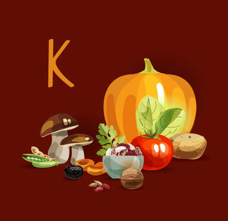 Potassium in food. Natural organic products with a high content of potassium. Healthy nutrition as the basis of a healthy lifestyle. Иллюстрация