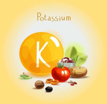 Potassio negli alimenti. Prodotti biologici naturali ad alto contenuto di potassio. Una sana alimentazione come base di uno stile di vita sano. Vettoriali
