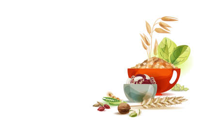 Herbal food. Cereal, bean. Vegetarianism and the basics of a healthy diet. Natural Organic Food