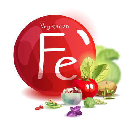 Mineral iron in vegetarian nutrition. Plant foods high in iron. Basics of healthy eating Foto de archivo - 125360646