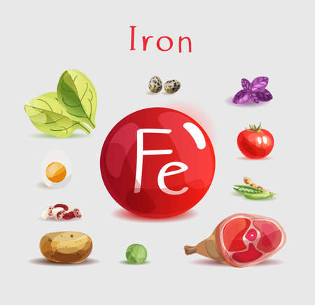 Iron in food. Natural organic products with a high content of Iron. Healthy nutrition as the basis of a healthy lifestyle.