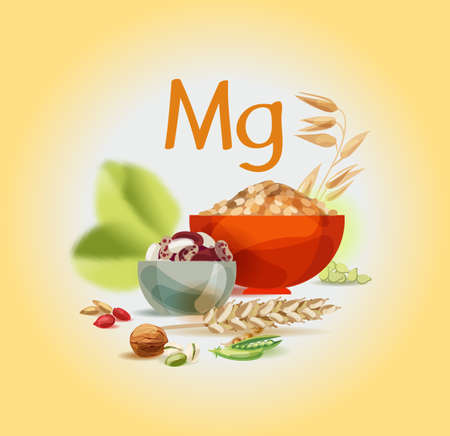Magnesium in food. Natural organic foods high in magnesium. Healthy nutrition as the basis of a healthy lifestyle.