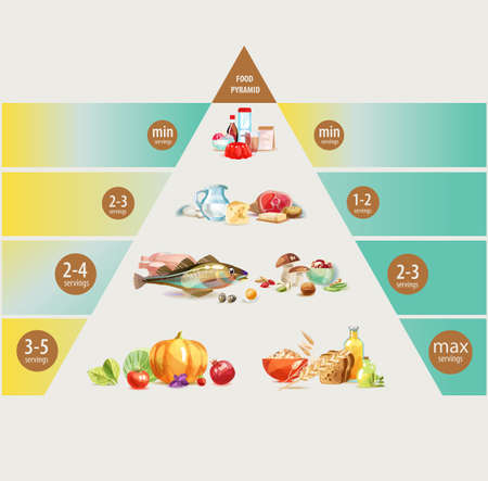Ernährungspyramide. Gesunde Ernährung ist die Grundlage eines gesunden Lebensstils. Vektorgrafik