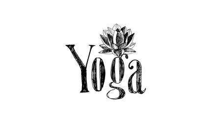 The lettering yoga and lotus flower. Hand drawing, retro style.