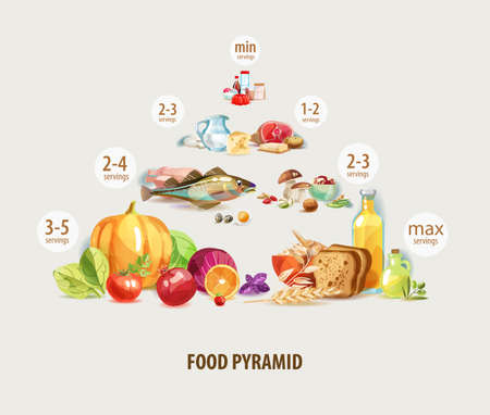 Food pyramid. Healthy nutrition is the basis of a healthy lifestyle. Çizim