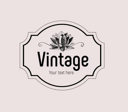 """Cadre vintage avec fleur de lotus rétro et les mots """"Vintage"""""""