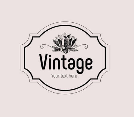 Vintage frame with retro lotus flower and the words Vintage