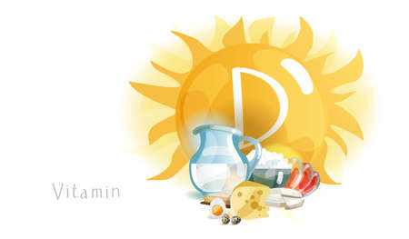 Vitamin D in food and sunlight. Natural organic products with a high content of Vitamin D. Healthy nutrition as the basis of a healthy lifestyle.