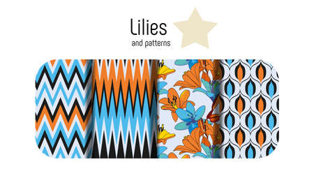 Lilies on vintage. Combined set of seamless patterns. Vintage style for fabric, wallpaper, cards