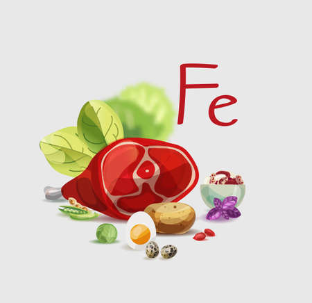 Iron in food. Natural organic products with a high content of Iron. Healthy nutrition as the basis of a healthy lifestyle. Foto de archivo - 125360715
