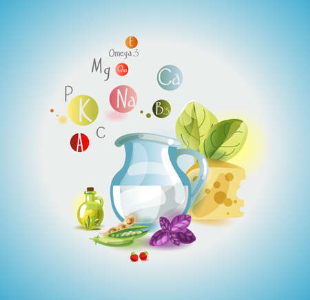 Natural organic products and vitamins. The basis of a healthy diet. Иллюстрация