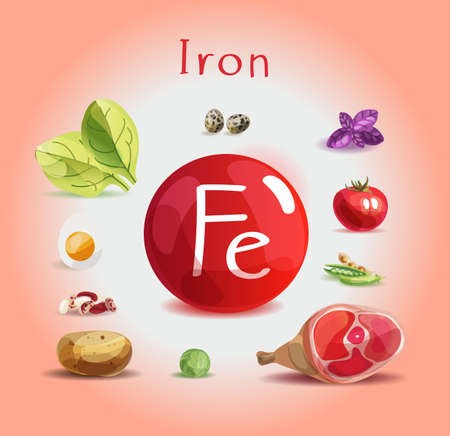 Iron in food. Natural organic products with a high content of Iron. Healthy nutrition as the basis of a healthy lifestyle. Foto de archivo - 125360718