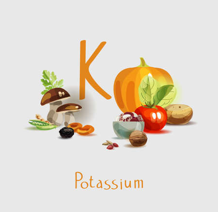 Potassium in food. Natural organic products with a high content of potassium. Healthy nutrition as the basis of a healthy lifestyle. Illustration