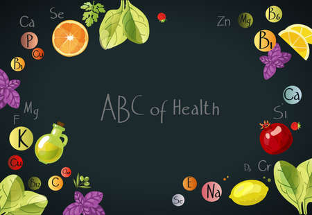 ABC of Health A scattering of vitamins. Background with vitamins, minerals and fresh fruits and greens. Иллюстрация