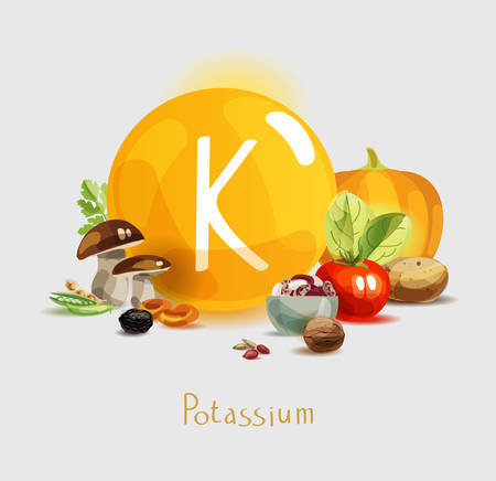 Potassium in food. Natural organic products with a high content of potassium. Healthy nutrition as the basis of a healthy lifestyle. Stock Illustratie