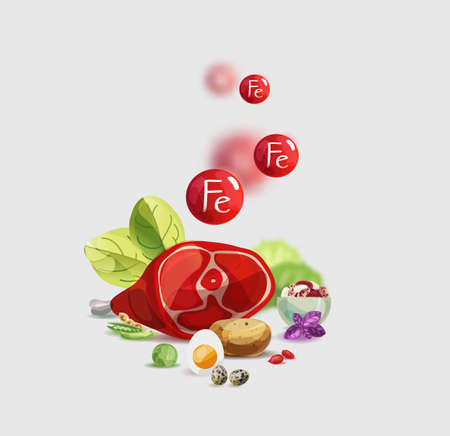 Iron in food. Natural organic products with a high content of Iron. Healthy nutrition as the basis of a healthy lifestyle. Vettoriali