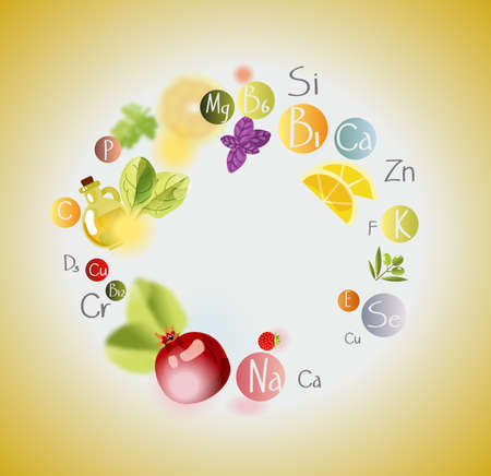 A scattering of vitamins. Background with vitamins, minerals and fresh fruits and greens. Frame