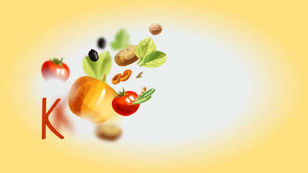 Potassium in food. Natural organic products with a high content of potassium. Illustration