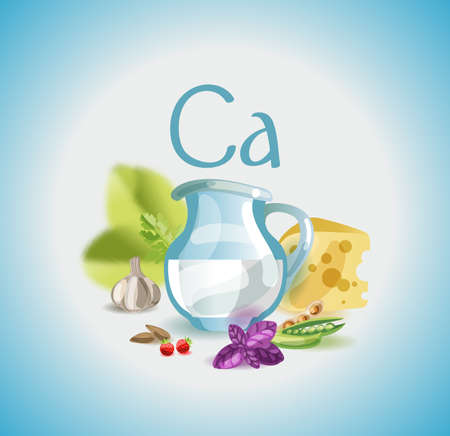 Calcium in food. Natural organic foods high in calcium. Healthy nutrition as the basis of a healthy lifestyle. Иллюстрация
